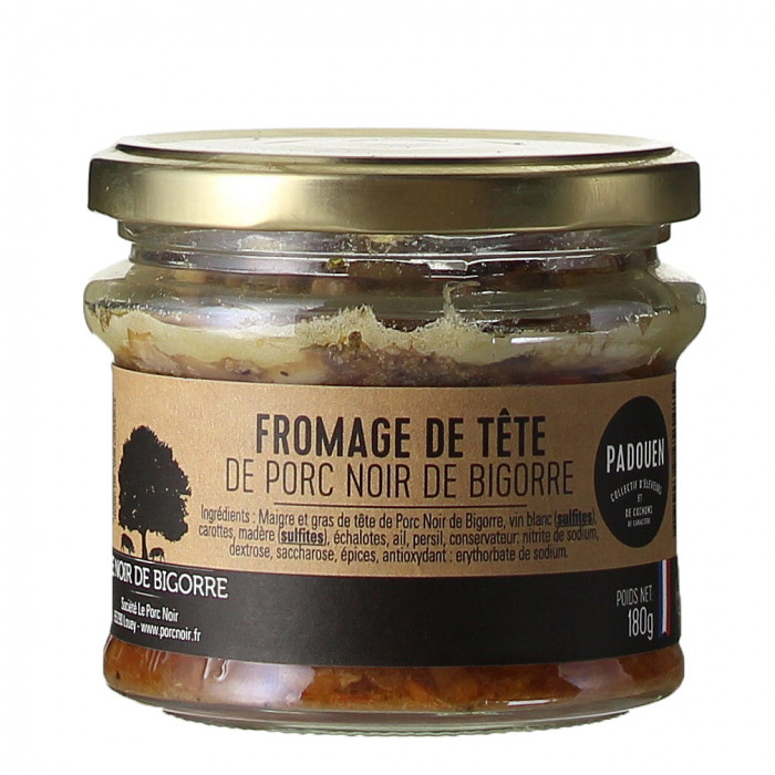 TERRINE DE FROMAGE DE TETE DE NOIR DE BIGORRE 180G - PADOUEN LE PORC NOIR