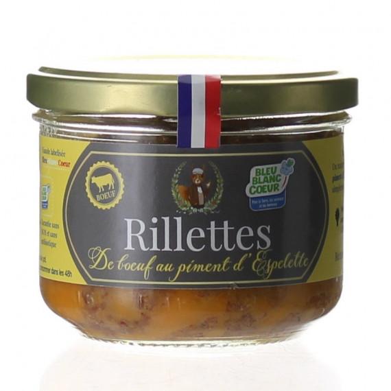 RILLETTES DE BOEUF AU PIMENT D'ESPELETTE 190G - MONSIEUR FERMIER