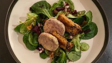 Recette : Saucisson de magret de canard au foie gras sur son lit de mâche